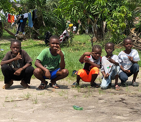 Liberian children in soccer field